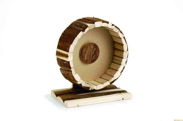 Деревянное колесо для хомяка на подставке